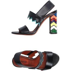 Missoni Sandals ($405) ❤ liked on Polyvore featuring shoes, sandals, black, real leather shoes, missoni, leather shoes, missoni shoes and kohl shoes