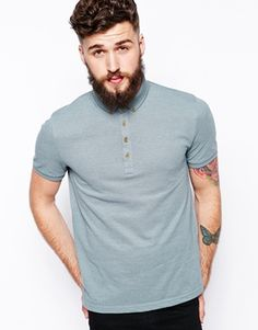 ASOS Polo Shirt In Pique With Button Down Collar