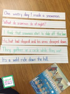 Crazy Speech World: Language therapy ideas for Snowmen at Night
