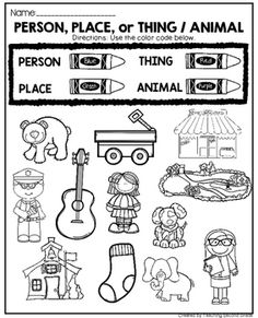 Noun Activities by Teaching Second Grade Learning English For Kids, English Worksheets For Kids, 1st Grade Worksheets, Phonics Worksheets, School Worksheets, Nouns Kindergarten, Kindergarten Language Arts, Teaching Nouns, Teaching Reading