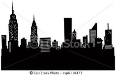 Stock Illustration - Cartoon New York Skyline - stock illustration, royalty free illustrations, stock clip art icon, stock clipart icons, logo, line art, pictures, graphic, graphics, drawing, drawings, artwork