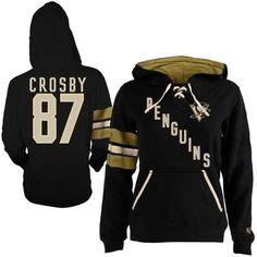 Women's Pittsburgh Penguins Sidney Crosby Old Time Hockey Black Heidi Hoodie