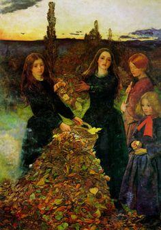 John Everett Millais: Autumn Leaves. Oil on canvas (1855-56) Dante Gabriel Rossetti, John Everett Millais, Mabon, Autumn Art, Autumn Leaves, Fallen Leaves, Autumn Painting, Pre Raphaelite Brotherhood, Art Gallery