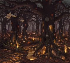 17 pinturas digitales by Jacek Yerka (Surreal Painting) Fantasy Places, Fantasy World, Fantasy Art, Fantasy Forest, Magic Forest, Fantasy Trees, Fantasy House, Art Bizarre, Weird Art