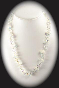 Vintage Jewelry Unique Aurora Borealis Glass Bead Wedding Necklace Item CB 100223