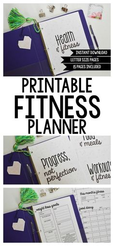 Planning Inspired printables' Printable Fitness Planner! These printables are EVERYTHING you need to get your fitness goals on track, complete with cover page and divider printables to set up your planner or binder! Includes 15 pages total!  #fitnessplanner