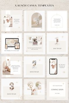23 Instagram Posts Canva Templates for Luxury Brands is a perfect solution for any online entrepreneurs or content creators who are about to launch a course, services, products or website. The templates are fully customizable in Canva. #canvatemplates #canva #bloggertemplates Instagram Feed Planner, Instagram Feed Layout, Feeds Instagram, Instagram Grid, Instagram Post Template, Instagram Design, Instagram Posts, Mise En Page Portfolio, Presentation Layout