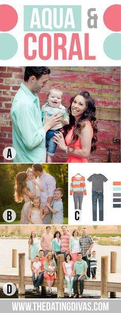 What to Wear for Family Pictures Aqua and Coral