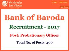 Baroda Manipal School of Banking, Bank of Baroda has advertised a notification for the recruitment of 400 Probationary Officer vacancies in Junior