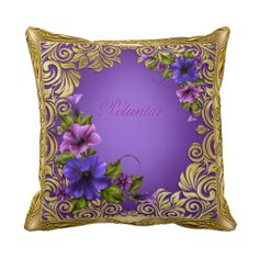 Petunias Purple Pink Pillows Girly by zizzago.com