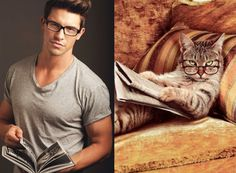 Cute cats, cute guys, same cute poses. This is the single-minded proposition of the Des Hommes et des Chatons (or Men and Cats) blog. It will either make you wince in pain or make you feel all fuzzy inside. Whatever rocks your boat, Internet. Whatever rocks your boat.