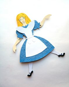 Alice In Wonderland Paper Doll Alice Jointed Doll by JuliaPeculiar