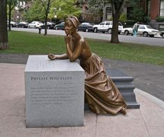 """""""Phillis Wheatley"""" memorialized by Meredith Bergmann and placed in Boston as part of the 2003 Boston Women's Memorial."""