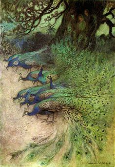 Peacocks in an Indian Garden ~ artist Warwick Goble. An original illustration for The Story of Princess Sobur in Folk Tales of Bengal.  A merchant's daughter, banished from home, takes refuge with her attendant in the trunk of a tree.  During the night innumerable peacocks scramble for food they have scattered about; the women collect the feathers they drop & make them into a fan which is sold for a large sum.  #art #illustration