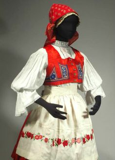Czech Folk Costume Kyjov Moravian Kroj Embroidered Apron Wool Skirt Vest Blouse | eBay