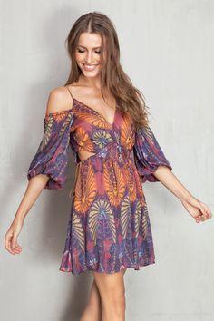 vestido estampado the velvet abertura lateral   Dress to