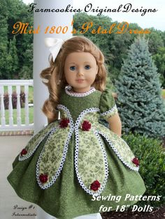 """Printed Pattern for American Girl Marie Grace or Cecile 1850's Petal Gown / Sewing Pattern for 18"""" Dolls"""