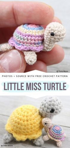 Little Miss Turtle Free Crochet Pattern. Meet Little Miss Turtle, a lady among other turtles, although very very tiny one. This sweet amigurumi is for all of you that enjoy making teeny-tiny toys. Amigurumi Little Miss Turtle Free Crochet Pattern Crochet Pattern Free, Crochet Motifs, Crochet Animal Patterns, Stuffed Animal Patterns, Crochet Patterns Amigurumi, Cute Crochet, Crochet Crafts, Crochet Dolls, Yarn Crafts