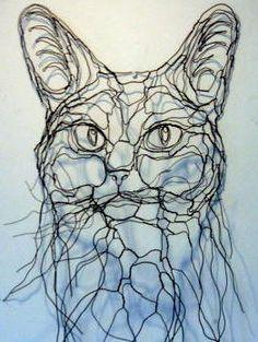 mega kitty cat feline wire art wire sculpture. Elizabeth Berrien is amazing