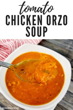 Rich and creamy like a homemade tomato soup should be, this delicious Tomato Chicken Orzo Soup is perfect for spring lunches or even dinner! Just a hint of the brown sugar comes through while the red pepper flakes add the perfect, slightly spicy touch! Food For Dry Skin, Chicken Orzo Soup, Soup Recipes, Family Recipes, Homemade Soup, Tomato Soup, Soups And Stews, Flakes, Lunches