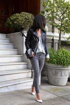 Jacket: Alexander McQueen (similar style here); Shirt: Equipment; Jeans: J.Brand; Shoes: Manolo...