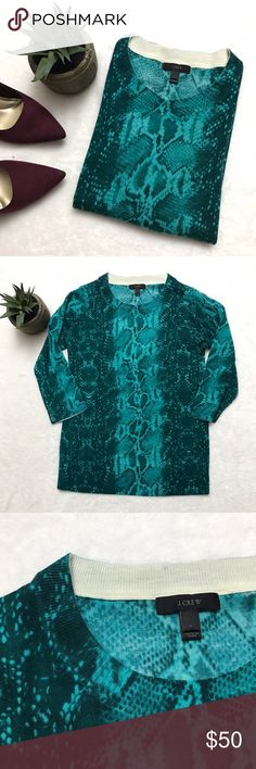 J. CREW Tippi Sweater Teal Snakeskin Python Merino J. CREW Tippi Sweater Teal Snakeskin Python Merino size medium. Excellent condition! 100% Merino wool. Lightweight. 3/4 sleeves. Perfect for cool summer nights with some edge! J. Crew Sweaters