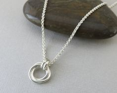 Love Knot Necklace, sterling silver, eternity necklace, 3 rings, 30th birthday for her, 30th anniversary, 3rd, friendship gift,three circles