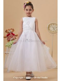 43572ad38914 Tulle Jewel Neckline Ankle-Length A-Line Flower Girl Dress with Embroidered  Bambine Che · Bambine Che Lanciano Petali Al MatrimonioSilhouetteVestiti ...