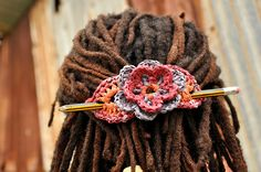 crocheted recycled plastic hair piece