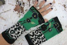 Green angora gloves, Fingerless leopard arm warmers, Women patchwork gloves, Dark green black, Christmas women gift, Handmade flower gloves Red Gloves, Lace Gloves, Fingerless Gloves, Velvet Glove, Christmas Gifts For Women, Pink Butterfly, Handmade Flowers, Arm Warmers, Special Gifts