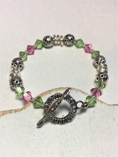 Swavorski Crystal Bracelet  Rose & Peridot  Bracelet  Silver