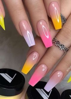 11 Amazing Pastel Color Acrylic Nail Designs for Spring: Have a Look! Best Acrylic Nails, Summer Acrylic Nails, Summer Nails, Colorful Nail Designs, Acrylic Nail Designs, Nail Polish Designs, Nails Design, Fire Nails, Rainbow Nails