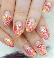 Red and orange flower nail art on a long red tip ♡ Really Cute Nails, Pretty Nails, Nail Polish Designs, Nail Art Designs, Kawaii Nail Art, Japan Nail, Japanese Nail Art, Flower Nail Art, Fabulous Nails