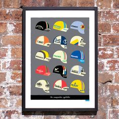 Cycling Art Print Classic Cycling Caps Print Large by gumo on Etsy