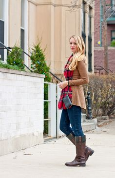 holiday plaid scarf, camel sweater, skinny jeans, riding boots, tory burch wristlet