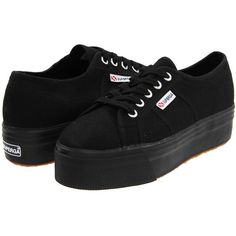 Superga 2790 Acotw (Full Black) Women's Lace up casual Shoes (52 AUD) ❤ liked on Polyvore featuring shoes, black, laced up shoes, superga, mid-heel shoes, black lace up shoes and platform shoes