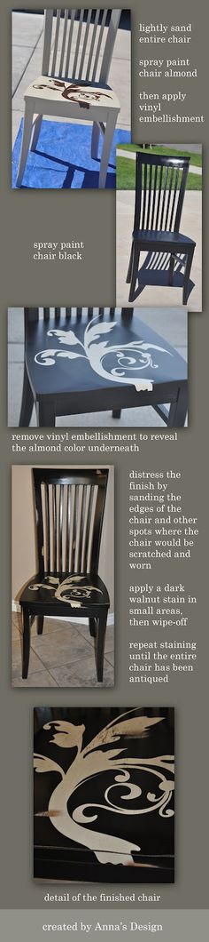 Repaint old kitchen chairs using reverse weeding technique (vinyl as a stencil).  Lots of vinyl designs available at http://beth.uppercaseliving.net