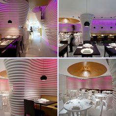 futuristic sushi restaurant interior Restaurant Layout, Restaurant Design, Japanese Sushi, Sushi Restaurants, Architecture, Futuristic, Fancy, Table Decorations, Interior Design