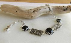 Personalized Black Onyx and Silver Bracelet by wearitpersonalized