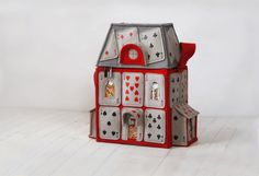 House Of Playing Cards Felt Bag Alice in Wonderland by krukrustudio on Etsy,