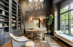 Before & After: Sophisticated and Modern Therapist Office Interior – Chic Home Office Design Home Office Space, Home Office Decor, Home Decor, Small Office, Grey Office, Study Office, Office Spaces, Office Interior Design, Office Interiors