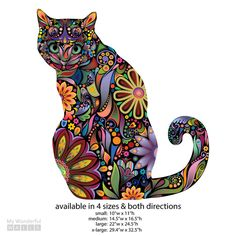 If you are proud of your title as crazy cat lady, these are the stickers for you! Vibrant and unique, this sitting cat is colored with a rainbow of radiant colors in a funky floral pattern. The fun feline sticker wall design will look great in the bedroom, playroom, hallway, bathroom, kitchen and more and is adored by babies, young children, teens and grown-ups alike. Unlike vinyl decals, our wall stickers are made of an innovative fabric material that is ultra easy to apply – just peel and…