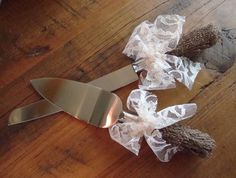 Rustic Burlap and Lace Wedding Cake Server and Knive Set by ORomeo, $29.50