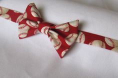 Red Baseball Bow Tie by PillowTalkbyShanna on Etsy, $12.99