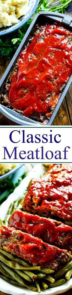 Classic Meatloaf - Spicy Southern Kitchen Meatloaf Recipes, Meat Recipes, Cooking Recipes, Beef Dishes, Food Dishes, Main Dishes, Hamburger Dishes, Ketchup, Bon Appetit