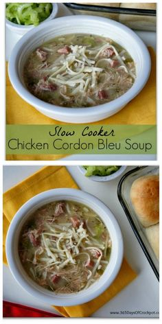 Slow Cooker Chicken Cordon Bleu Soup from 365 Days of Slow Cooking sounds amazing, and Karen says her kids loved this soup!  Chicken, ham, and cheese, yes please![Featured on SlowCookerFromScratch.com]