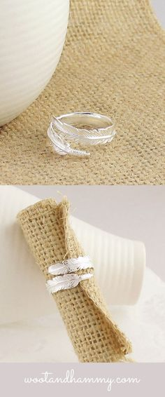 This pretty ring is like a feather wrapped around your finger. Adjustable from sizes 6-9. Beautifully detailed and made of solid sterling silver.