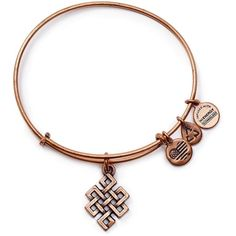 Alex and Ani Endless Knot Rose Gold Tone Wire Bangle - Bloomingdale's... ($28) ❤ liked on Polyvore featuring jewelry, bracelets, rose gold, hinged bangle, knot bangle bracelet, bracelet bangle, bangle bracelet and bracelet jewelry