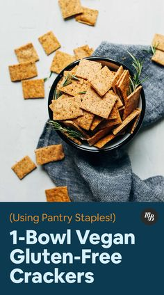 Vegan Gluten-Free Crackers - - Crispy, thin, gluten-free crackers reminiscent of Wheat Thins! Just 7 ingredients and 1 bowl required for these delicious snacks. Perfect for dipping in hummus, nut butters, and more! Vegan Treats, Vegan Snacks, Yummy Snacks, Healthy Snacks, Gluten Free Crackers, Vegan Crackers, Vegan Gluten Free, Gluten Free Recipes, Vegan Recipes