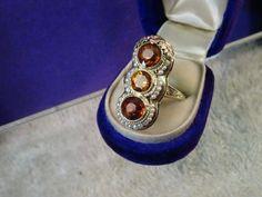 Antique Art Deco 14k yellow gold Madera citrine long Pearl ring size 5 1/4 #Estateearly20thcenturyArtDecoera #Longnaturalcitrineandpearls